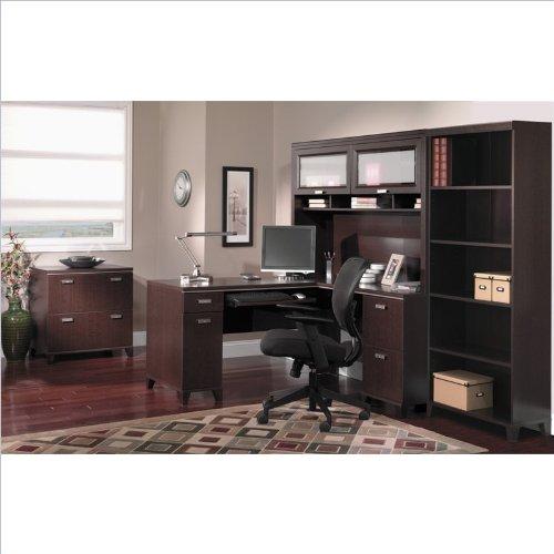 Bush Tuxedo 4-Piece L-Shape Computer Desk Set in Mocha Cherry