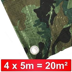 Abdeckplane 4x5m 90g/m² camouflage Holzabdeckplane Flecktarn Tarn