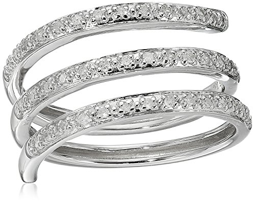 Rhodium-Plated-Sterling-Silver-Spiral-Diamond-Ring-15cttw-H-I-Color-I2-Clarity-Size-8