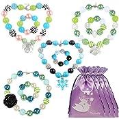Kilofly Princess Party Favor Jewelry Value Pack, Necklace & Bracelet, 4 Sets - B019X7GZL8