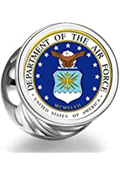 Phrase Seal Of The Us Air Force Cylindrical Photo Charm Beads Bracelets