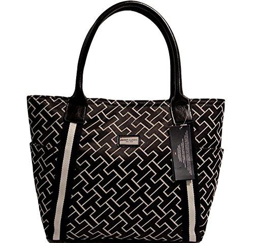 Tommy Hilfiger Signature Tote Bag Handbag (Black / Beige)
