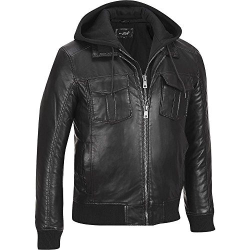 Black Rivet Mens Faux-Leather Bomber Jacket W/ Removable Hood & Knit Trim S Blac (Faux Leather Removable Hood compare prices)