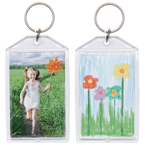 "1 3/4"" x 2 3/4"" Acrylic Photo Snap-In Keychain - 25 Pack"