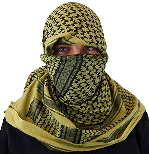Check Out This Zephyr Shemagh Tactical Desert Scarf - Tan / Black