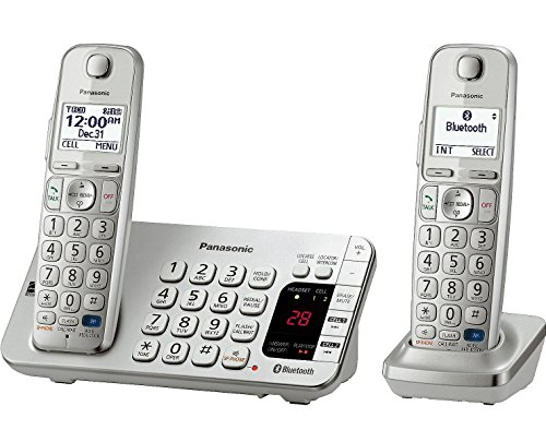 Panasonic Dect 6.0 Plus Big Button Expandable Digital Bluetooth Cordless Phones With Talking Caller Id And Digital Answering System - 2 Handset Pack