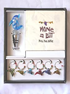 Tropical Dolphin Wine Bottle Topper & Glass Charms Boxed Gift Set