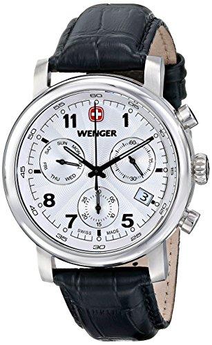 Wenger 011043105 - Reloj de pulsera hombre, piel, color negro