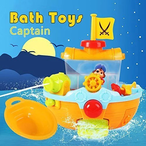 Rainbowkids pirate ship boats Baby/Child/Toddler Squirting Bathtub toys,Baby Bath Activity Toy Bathroom,for 1 years up