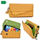 Crossbody clutch cell phone holder in a amber yellow tribal design universal fit Samsung Galaxy S II Skyrocket i727