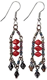 Classic Ruby Colored Lady Avalon Beaded Earrings