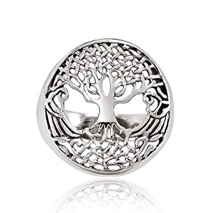 Chuvora 925 Sterling Silver 18 mm Detailed Celtic Tree of Life with Root Round Shape Band Ring for Women - Nickel Free - Size 9
