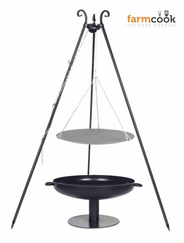 Dreibein Grill VIKING Höhe 180cm + Lagerfeuerpfanne aus Stahl Durchmesser 46cm + Feuerschale Pan41 Durchmesser 60cm online bestellen
