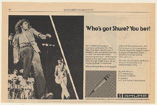 1977 The Who Shure Microphones Print Ad (Memorabilia) (56984)