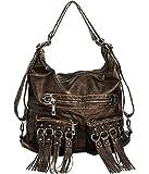 ''Tasseled Pockets'' Large Backpack-Convertible Hobo Bag