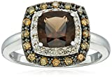 Sterling Silver Smoky Quartz with White and Brown Diamond Ring (1/4cttw), Size 7