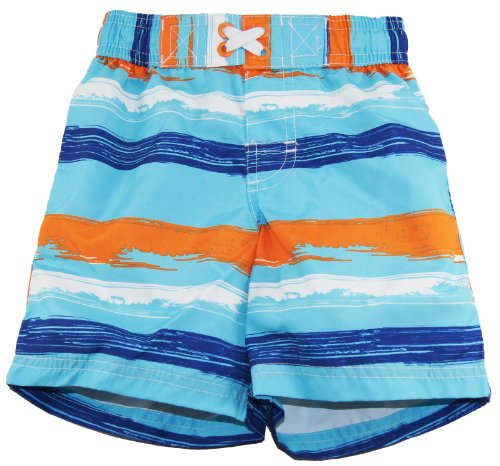 Ixtreme Baby Boys Swimwear Brushed Stripe Swim Trunk, Turquoise 12M front-781773