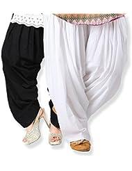 Kisti Sales Women's Cotton Patiala Salwar Combo (_Black & White_Free Size)