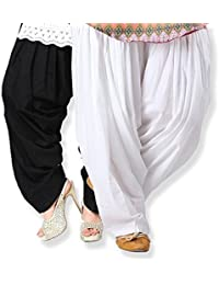 Fashion Store Women's Cotton Patiala Salwar Combo (_Black & White_Free Size)