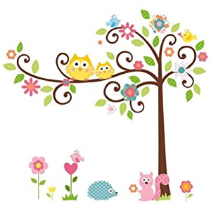 Zooyoo stickers muraux en pvc repositionnables pour - Stickers muraux repositionnables bebe ...