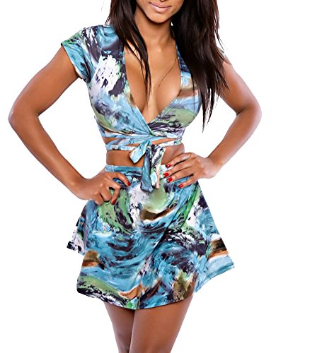 Sexy Women'S Wrap Deep V Neck Bodycon Party Mini Dress Swimdress Beachwear (Us L, Multicolor)