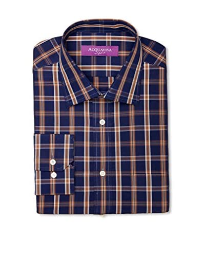 Acquaviva Men's Check Barrel Cuff Dress Shirt