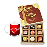 Fascinating Collection Of White Chocolates And Truffles With Love Mug - Chocholik Luxury Chocolates