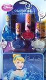 Disney Princess Cinderella 4 Glitter Nail Polish Kit Set Plus Bonus Carrying Tin Case Great Stocking Stuffer Gift Set