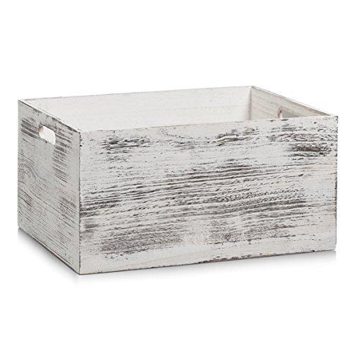Zeller-15135-Aufbewahrungs-Kiste-Holz-rustic-wei-40-x-30-x-20-cm