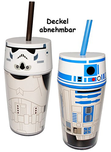 2-Stck--Becher-Trinkflaschen-Star-Wars-Stormtrooper-R2-D2-400-ml-mit-Strohhalm-Deckel-Becher-Sommerglas-Trinklernbecher-Plastikbecher-zB-Limonade-Erfrischung-Sommer-Smoothie-Becher-Trinkglas-Trinkflas