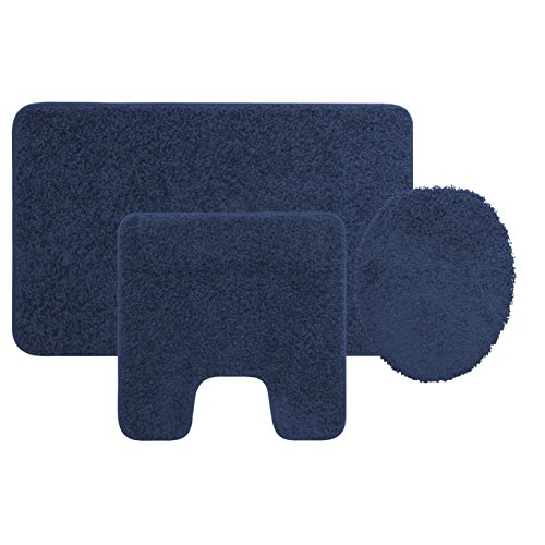 3 Piece Bath Rug Set Navy Blue Bathroom Mat Contour Rug Lid Cover Non Slip Latex Bottom Home