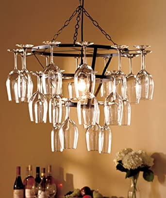 Contemporary Wine Glass Chandeliers,Antique Wrought Iron Brass look,Made From Metal.Eye Catching Display Guaranteed. Hang in the Home, Wine Room, Cellar, Dining Room, Foyer. Unique Feature Piece,Art-Deco Designer Look.Modern Small Plug in Chandelier.