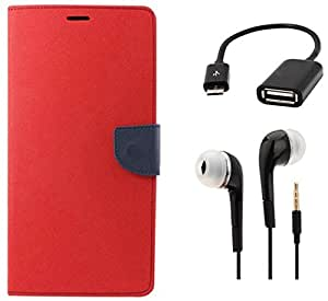 Tidel Premium Table Talk Fancy Diary Wallet Flip Cover Case for Samsung Galaxy J7 (Red) With 3.5mm Earphone & Micro OTG Cable