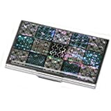 Antique Alive Mother of Pearl Korean Traditional Lattice Design Lady Business Credit Card Holder Metal Wallet (B119)