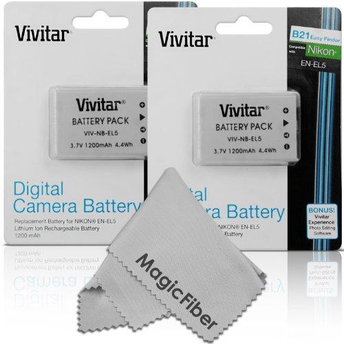(2 Pack) Vivitar EN-EL5 Ultra High Capacity 1200mAH Li-ion Batteries for NIKON Coolpix P530, P520, P510, P100, P500, P5100, P5000, P6000, P90, P80 Cameras (Nikon EN-EL5 Replacement) (Coolpix P510 Battery compare prices)