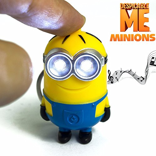 Promotions! Despicable Me Toys LED Minions Keychain Action Figure Toys Yellow Led Talking Minion Toys G0120