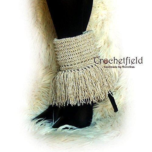 Beige Fringe Leg warmers, boot cuffs, boot socks, Crochet Dance Ballet Leg Warmers, fitness boot socks, flower leggings