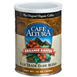 Cafe Altura Organic Coffee Fair Trade Dark Blend Ground 12 Ounce Can  Pack of 3