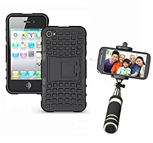 Aart Hard Dual Tough Military Grade Defender Series Bumper back case with Flip Kick Stand for Iphone 4G + Aux Wired Mini Pocket Selfie Stick by Aart store.