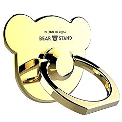 Phone Stand , Vinve Bear Metal Cell Phone Stand Holder Desk Stand 360 Rotation Portable Ring Grip Stand for iPhone 6 6s SE Samsung Galaxy S7 S6 Edge and any other phones (Golden)
