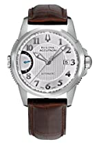 Accutron Calibrator Silver Dial Brown Leather Mens Watch 63B160