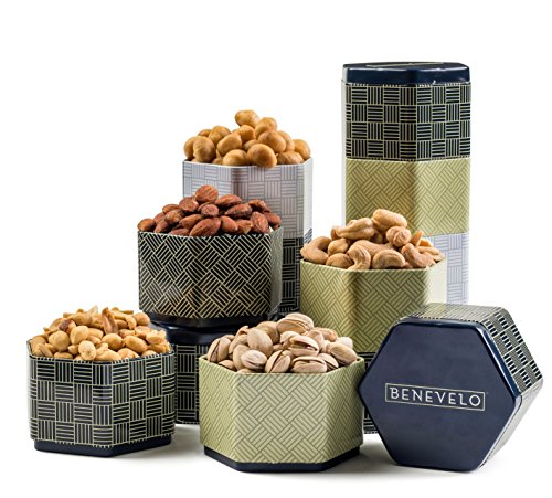 5 Tier Salted Gourmet Peanuts Assorted Tower Gift Set Featuring Macadamia, Cashew, Pistachio