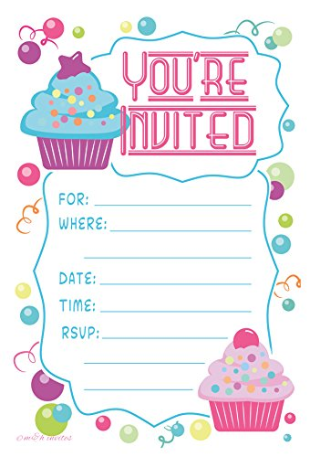 Why Choose Cupcake Theme Birthday Party Invitations - Fill In Style (20 Count) With Envelopes