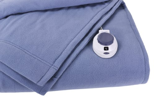 Soft Heat Luxury Micro-Fleece Low-Voltage Electric Heated Throw, Slate Blue