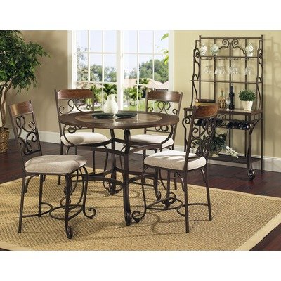 Cheap Callistro 5 Piece Counter Height Round Dining Table Set In Bron