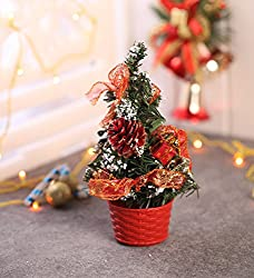 Itiha Decorated Artificial Red Christmas Tree Showpiece- 7 inches