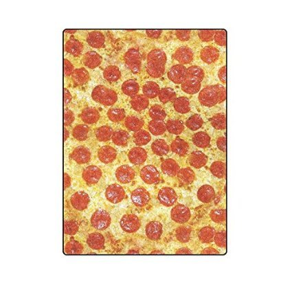 "58"" x 80"" (Large) Funny Pizza Pattern Fleece Throw Blanket for Sofa Couch Lounge Bed Bedding"