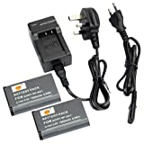 DSTE® 2pcs NP-BX1 Rechargeable Li-ion Battery + Charger DC134U for Sony NP-BX1, NP-BX1/M8 and Sony Cyber-shot DSC-HX50V, DSC-HX300, DSC-RX1, DSC-RX1R, DSC-RX100, DSC-RX100 II, DSC-RX100M II, DSC-WX300, HDR-AS10, HDR-AS15, HDR-AS30V, HDR-AS100V, HDR-AS10