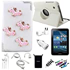 AceNear Accessory Bundle For ASUS Transformer Pad TF300 10.1-Inch Tablet - New 360 Degress Rotating Stand 3D Luxury Crystal Bling Leather Folio Case Cover , Headset Dust Plug Capacitive Stylus, Screen Protector, USB Cable, Charger, Earphone, bag, Car Charger Adapter - lovely horse
