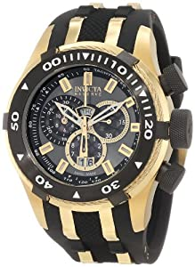 Invicta Men's 0980 Bolt Reserve Chronograph Gunmetal Dial Black Polyurethane Watch